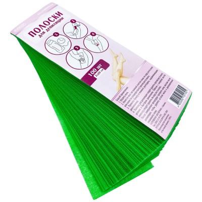 Цветные полоски для депиляции 7х20 см, зеленые