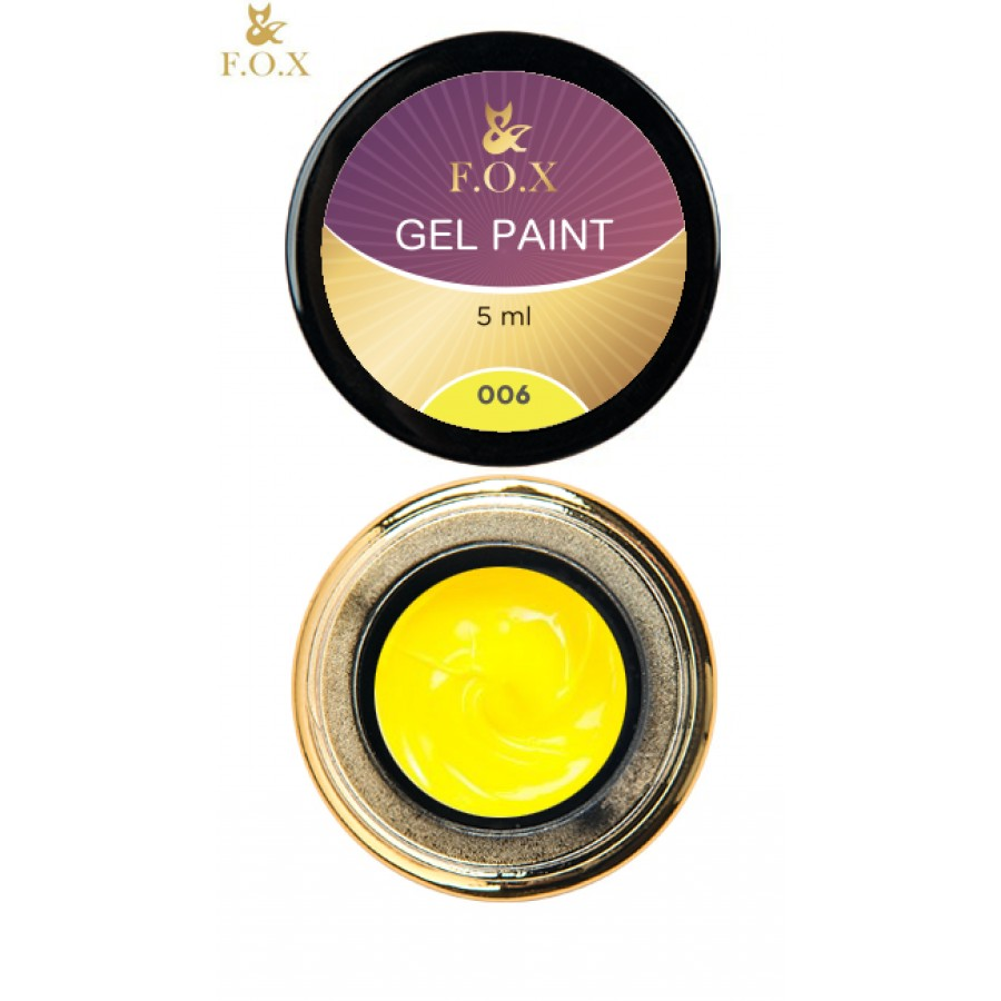Гель-краска FOX для ногтей 006 (желтый), 5 мл