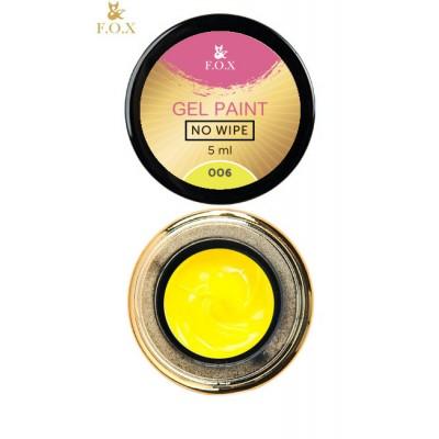 Гель-краска без липкого слоя Фокс (FOX) для ногтей 006 (желтый), 5 мл
