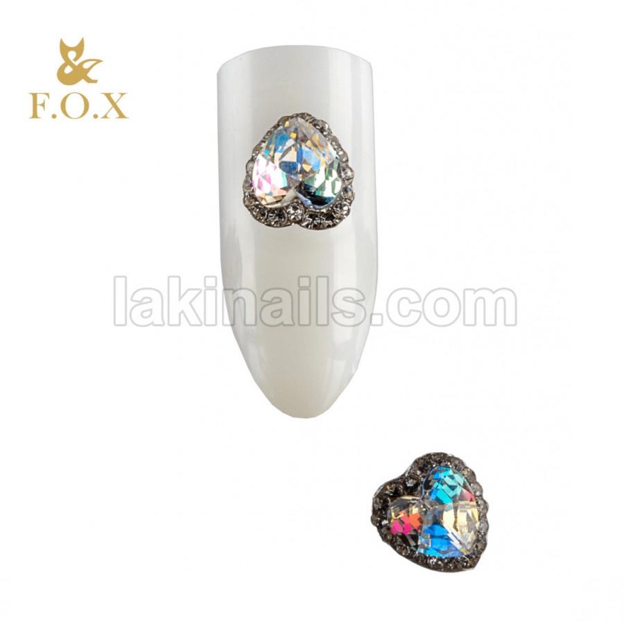 3D Брошка для дизайну нігтів FOX heart, 2 шт