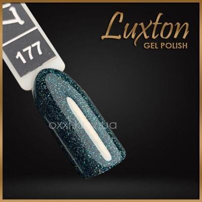 Гель-лак Luxton №177, темный зеленый с блестками, 10 мл