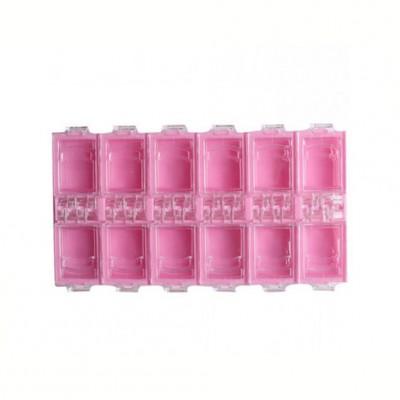 Контейнер для страз на 12 секций, розовый