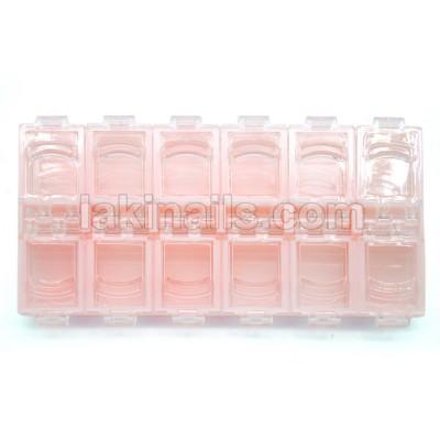 Контейнер для страз на 12 секций, светло-розовый