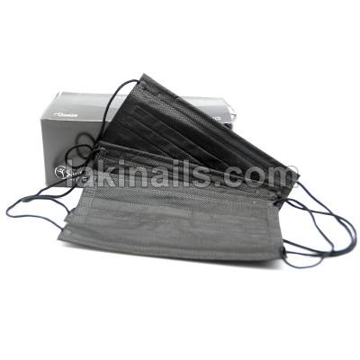 Маска щільна тришарова чорна на гумці, упаковка 50 шт