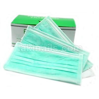 Маска тришарова зелена на гумці упаковка 50 шт