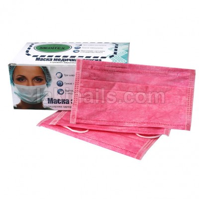 Маска тришарова рожева на гумці, упаковка 50 шт