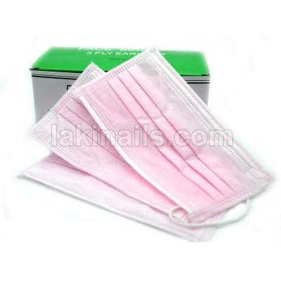 Маска тришарова рожева на гумці упаковка 50 шт