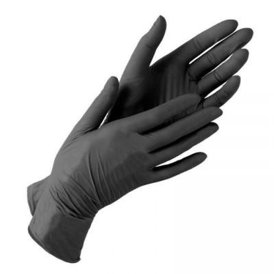 Нитриловые перчатки размер S черные, пара