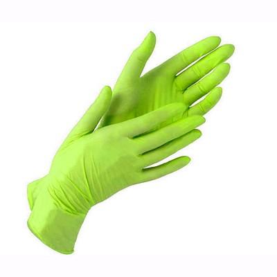 Нитриловые перчатки размер M салатовые, пара
