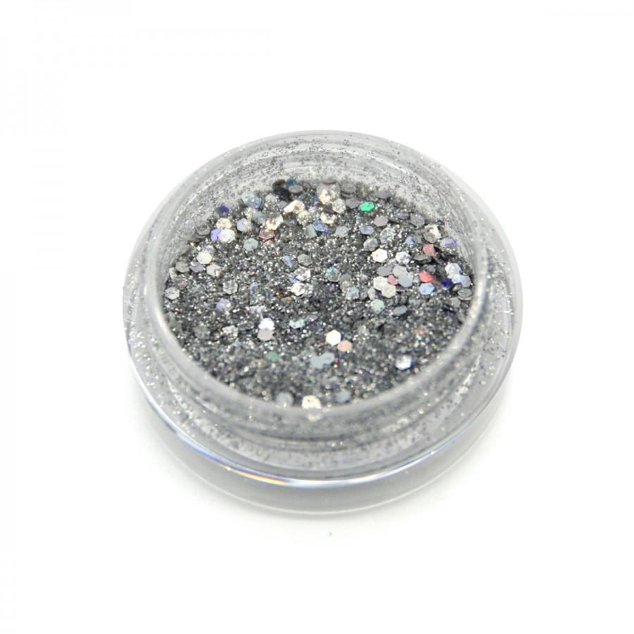 Голографічний брокат для дизайну нігтів (BG-02), срібло