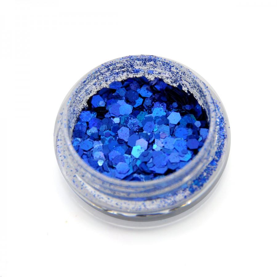 Голографічний брокат для дизайну нігтів (BH-08), синій