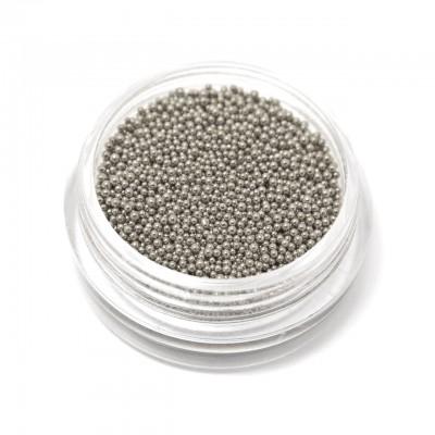 Металлические бусинки (бульонки) для дизайна ногтей, серебро