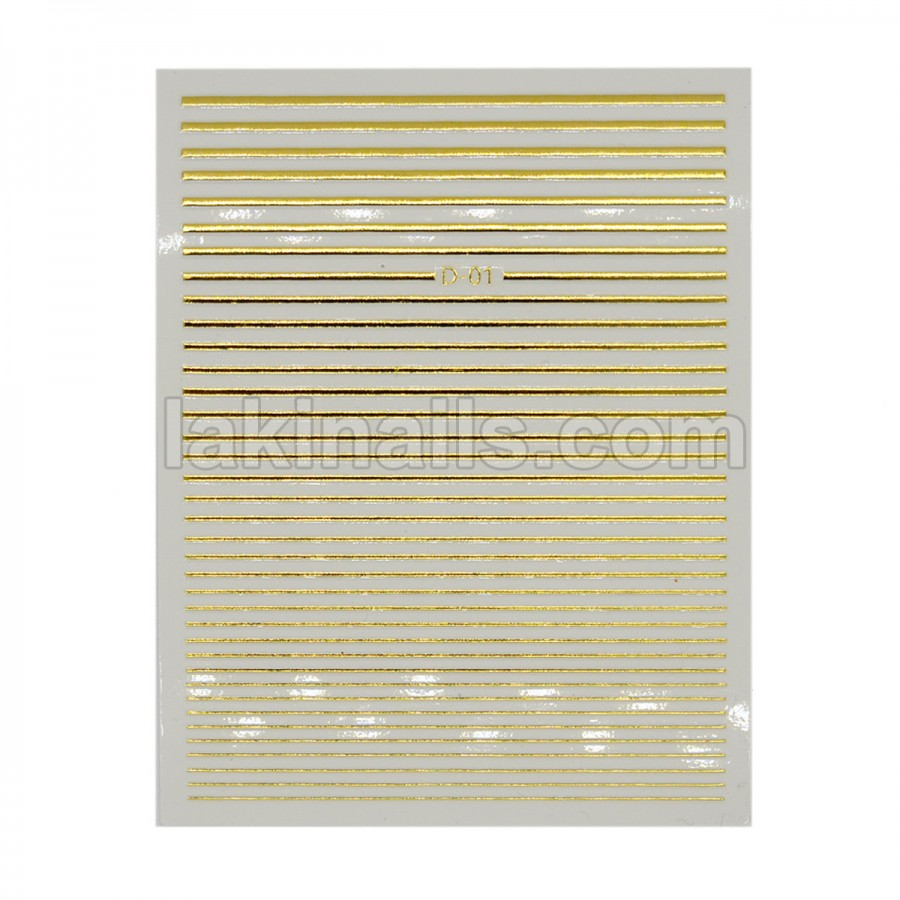 Силиконовые гибкие ленты полоски 3D для дизайна ногтей, золото D-01