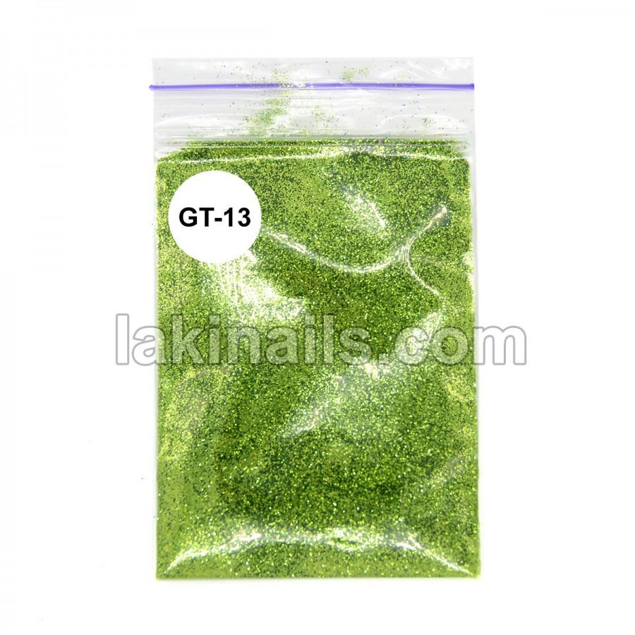 Глиттер для блеск-тату GT-13, светло-зеленый