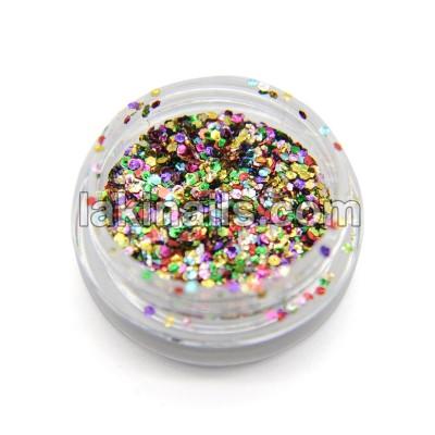 Шестигранники новорічні, конфетті для дизайну нігтів, мікс кольорів GX-MIX