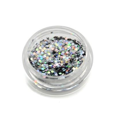 Шестигранники голографічні для дизайну нігтів, срібло (HG-01)