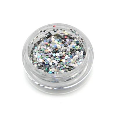 Шестигранники голографічні для дизайну нігтів, срібло (HG-02)