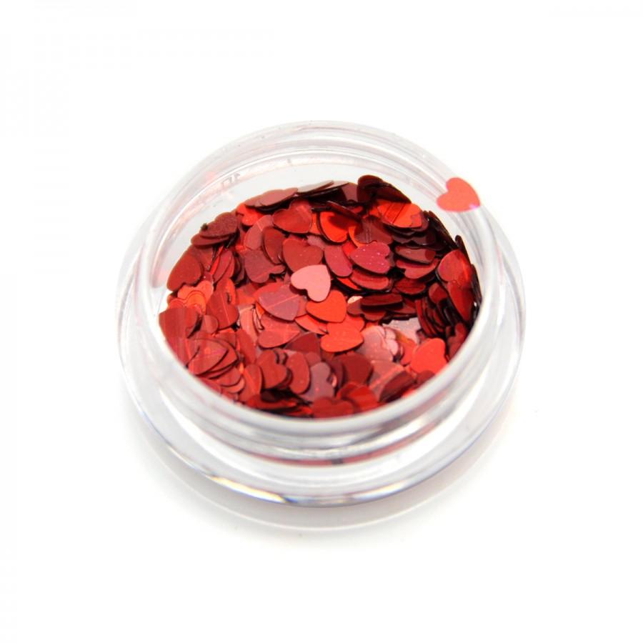 Камифубики (сердечки) конфетти для дизайна ногтей, красные KF-03