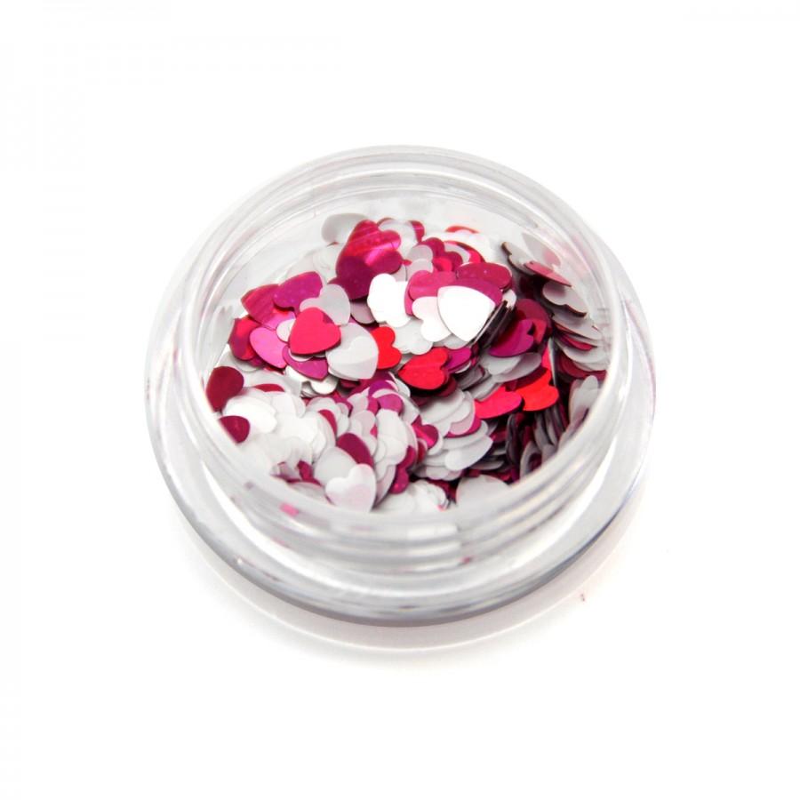 Каміфубікі (сердечка) конфетті рожеві і білі для дизайну нігтів KF-06
