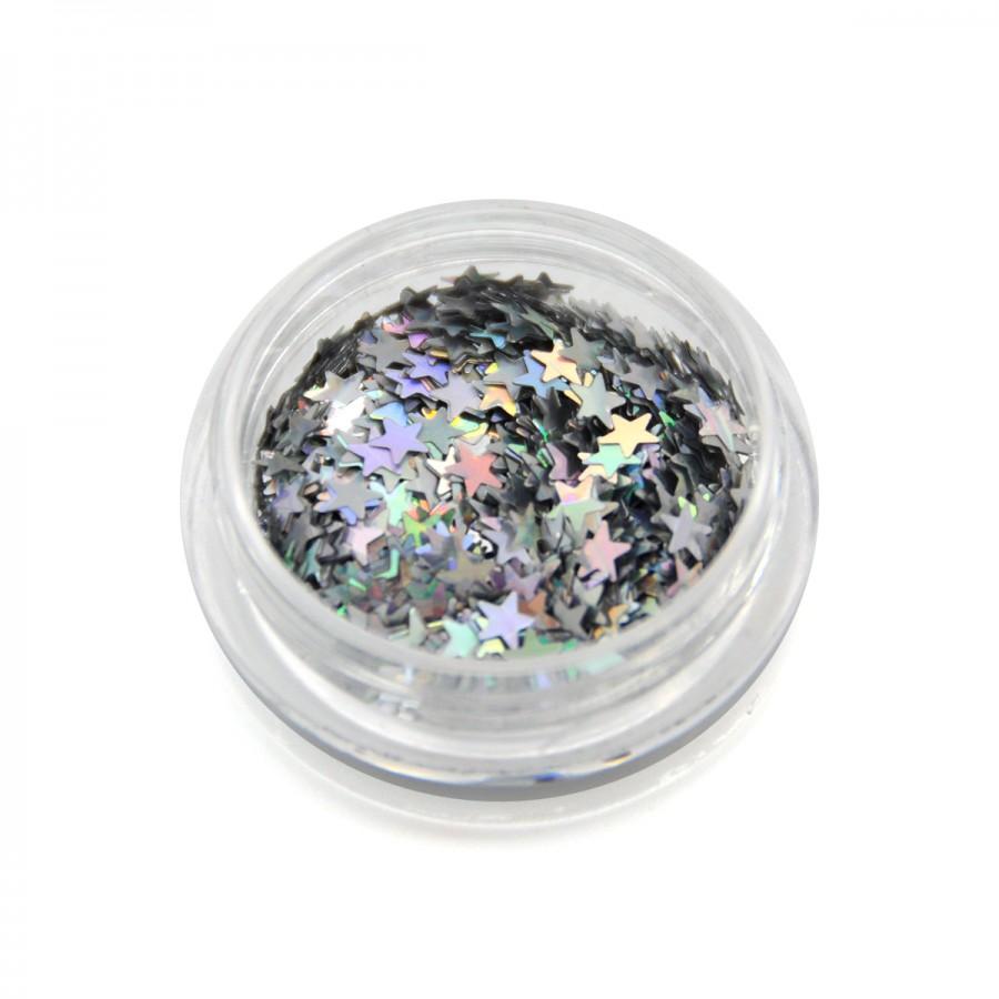 Каміфубікі (зірки) для дизайну нігтів срібло голографічні, KF-13