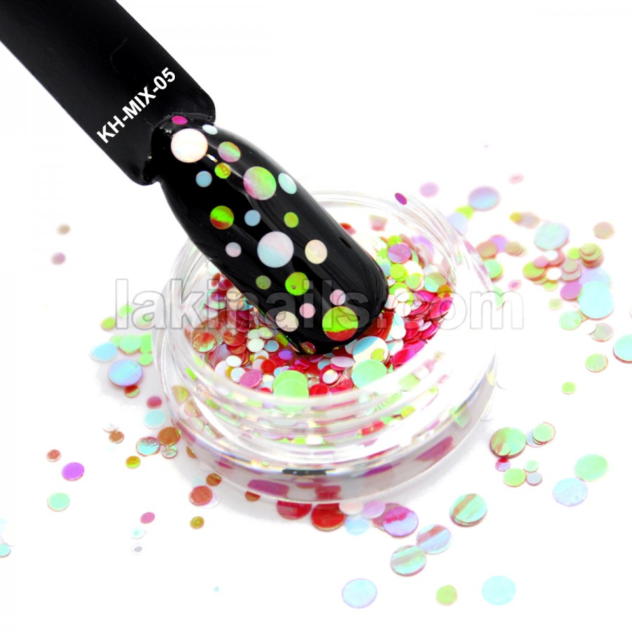 Каміфубукі (кружечки) конфетті для дизайну нігтів, KH-MIX-05