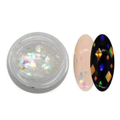 Прозорі каміфубукі (ромби різних розмірів) для дизайну нігтів, голографічні
