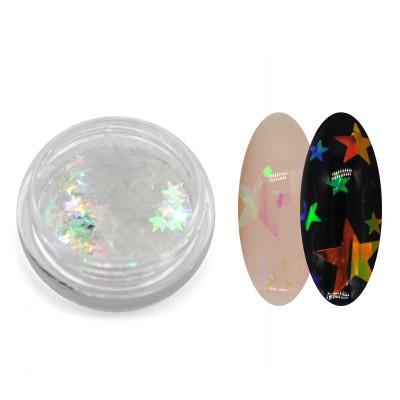Прозорі каміфубукі (зірки) для дизайну нігтів, мікс розмірів, голографічні