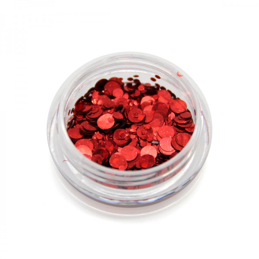 Каміфубікі (кружечки) конфетті для дизайну нігтів, червоні, KSH-03