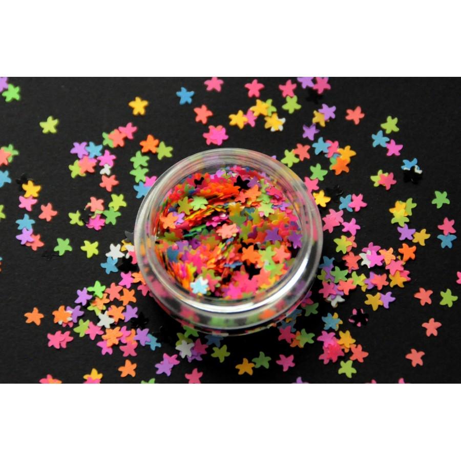 Каміфубікі (морські зірки) для дизайну нігтів неон мікс кольорів