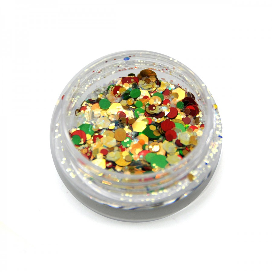 Камифубики новогодние, конфетти для дизайна ногтей, MC-101