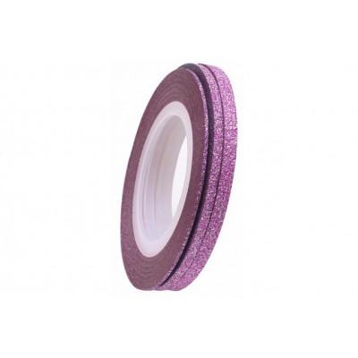 Цукрові клейкі стрічки для нігтів з блиском, рожеві, 1 мм