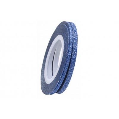 Цукрові клейкі стрічки для нігтів з блиском, блакитні, 1 мм