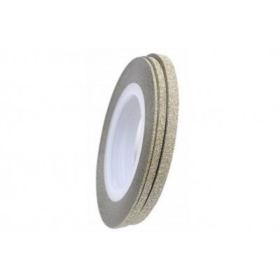 Цукрові клейкі стрічки для нігтів з блиском, біле золото, 1 мм