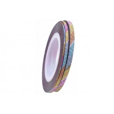 Цукрові клейкі стрічки для нігтів з блиском, різнокольорові, 1 мм