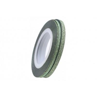 Цукрові клейкі стрічки для нігтів з блиском, зелені, 1 мм