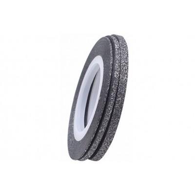 Цукрові клейкі стрічки для нігтів з блиском, чорне срібло, 1 мм