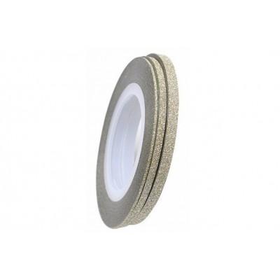 Цукрові клейкі стрічки для нігтів з блиском, біле золото, 3 мм