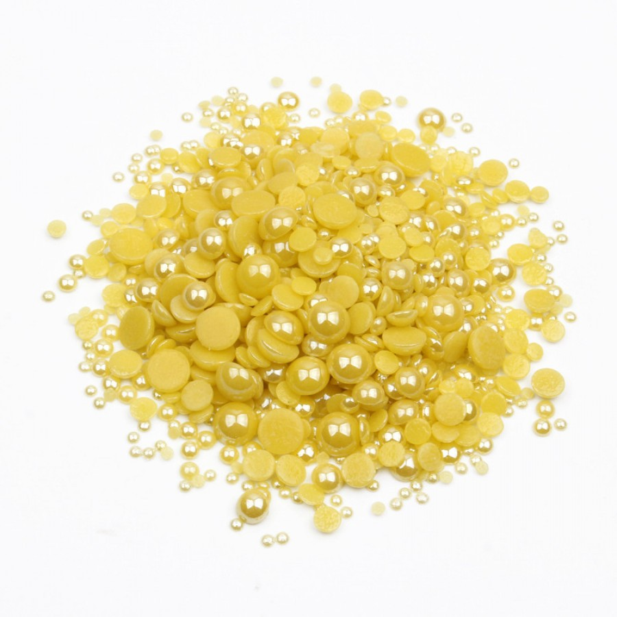 Перли-половинки, жовтий, мікс розмірів