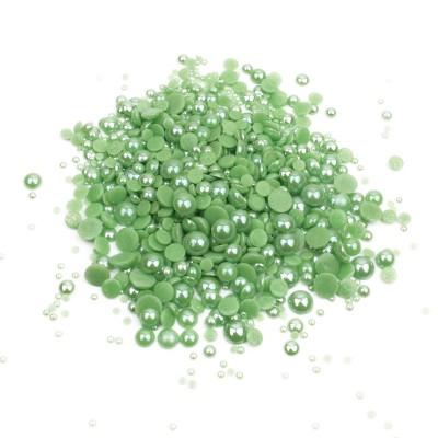 Перли-половинки, зелений, мікс розмірів
