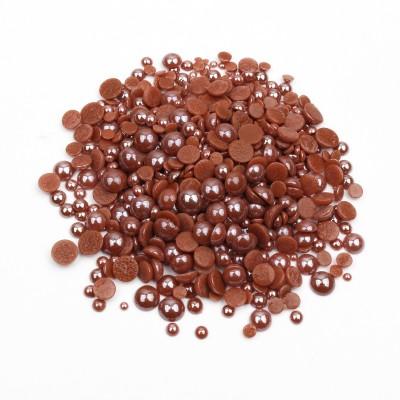 Перли-половинки, коричневий, мікс розмірів