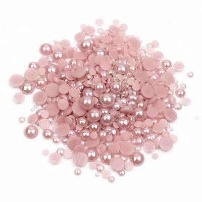 Перли-половинки, рожевий, мікс розмірів