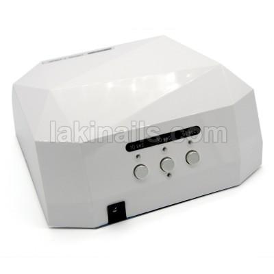 Сенсорная гибридная лампа для ногтей  LED+CCFL 36 W, Diamond, белая