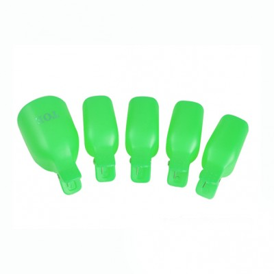 Зажимы - клипсы для снятия гель-лака с ног, на блистере, зеленые