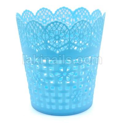 Подставка пластиковая для кистей, инструментов ажурная, голубая