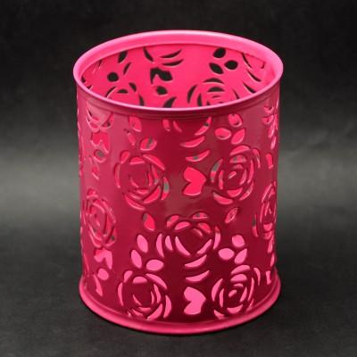 Подставка металлическая для кистей, инструментов, ярко-розовая