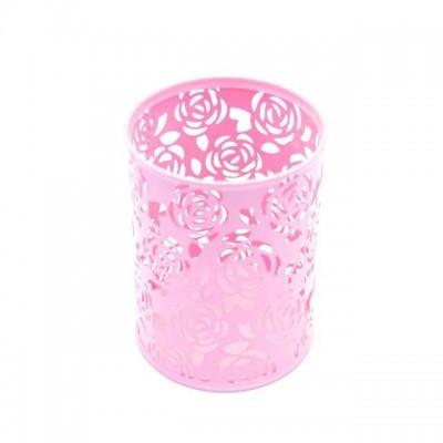 Подставка металлическая для кистей, инструментов, розовая