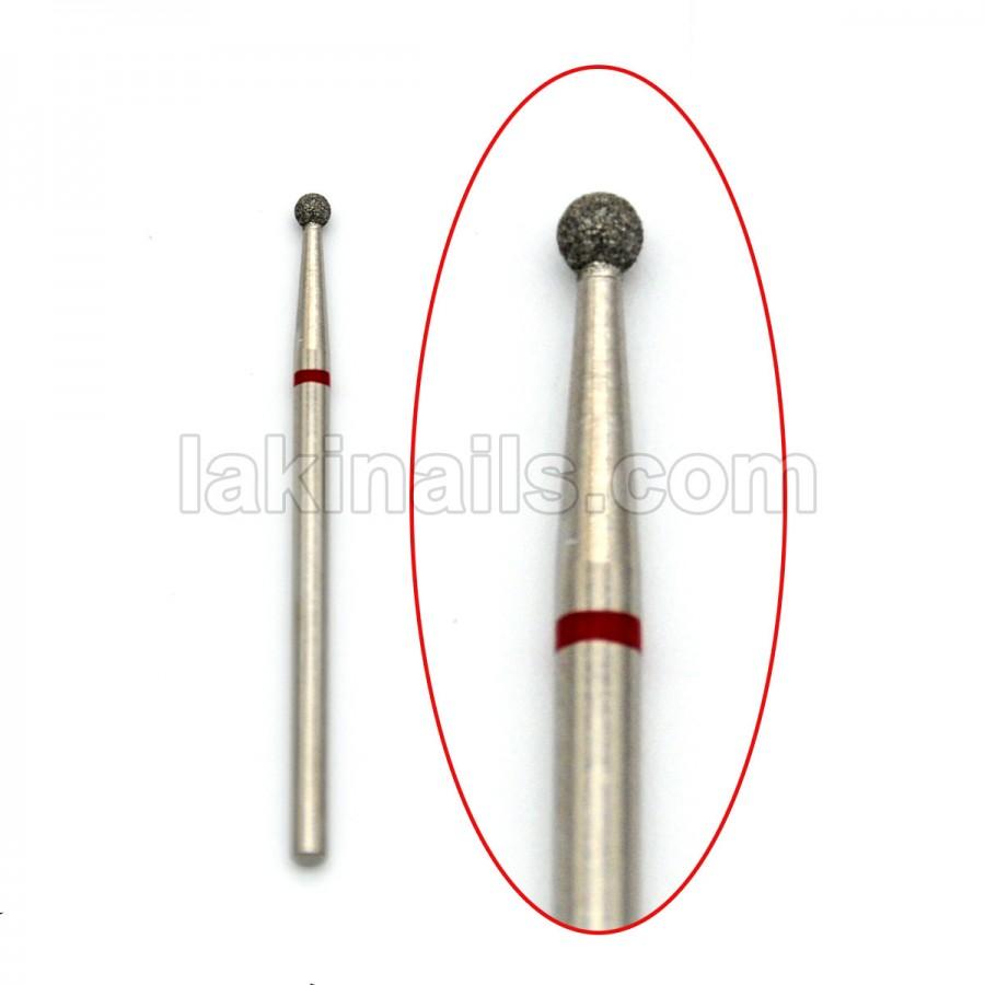 Алмазная насадка (бор) для фрезера, сфера 001 красная 2,3 мм