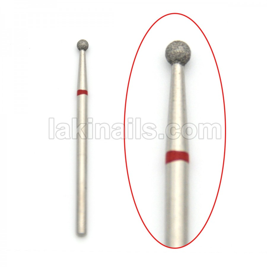 Алмазна насадка (бор) для фрезера, сфера 001 червона 2,5 мм