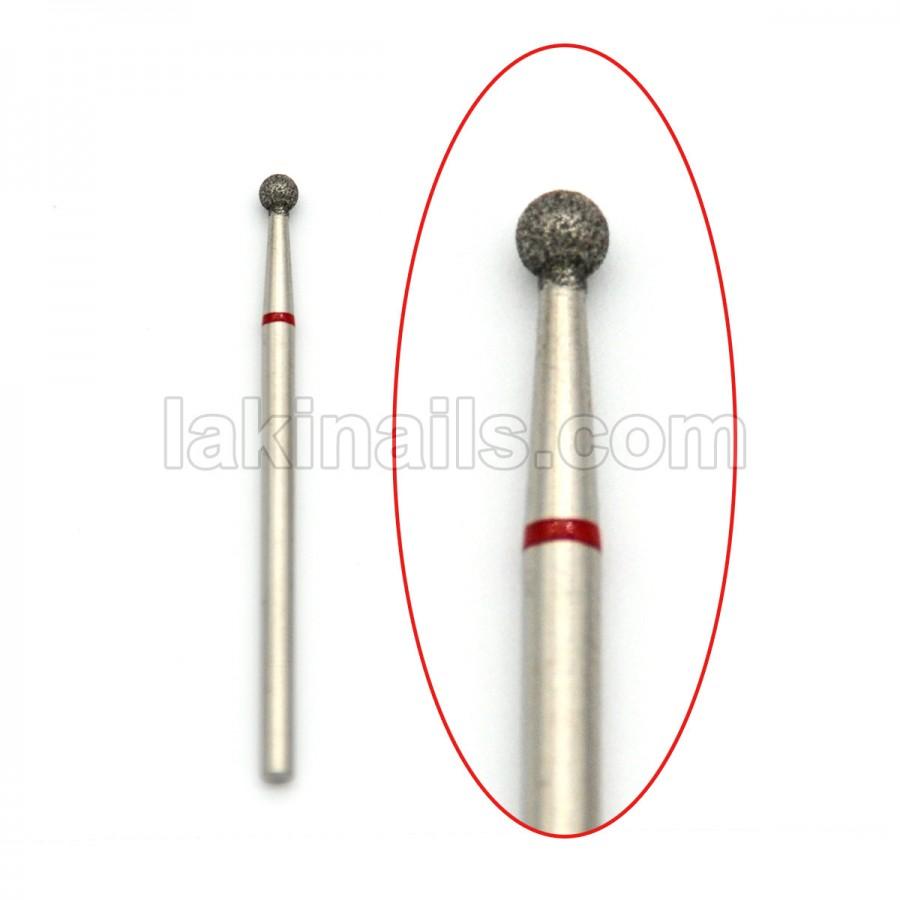 Алмазная насадка (бор) для фрезера, сфера 001 красная 2,7 мм