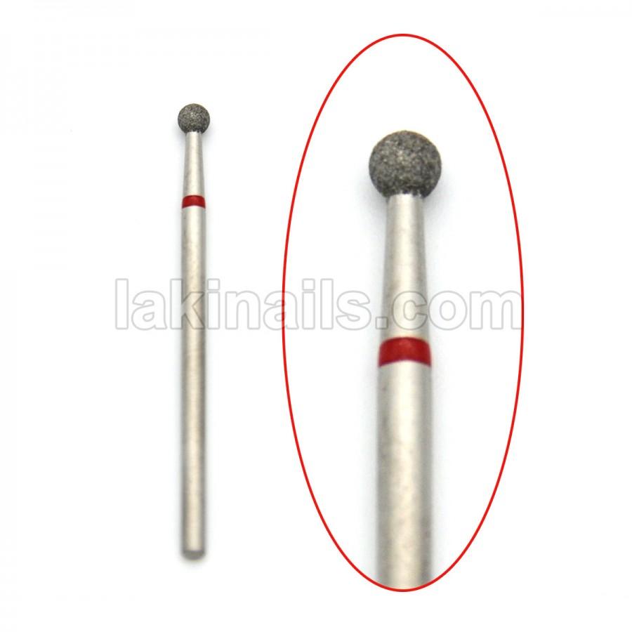 Алмазна насадка (бор) для фрезера, сфера 001 червона 3,1 мм